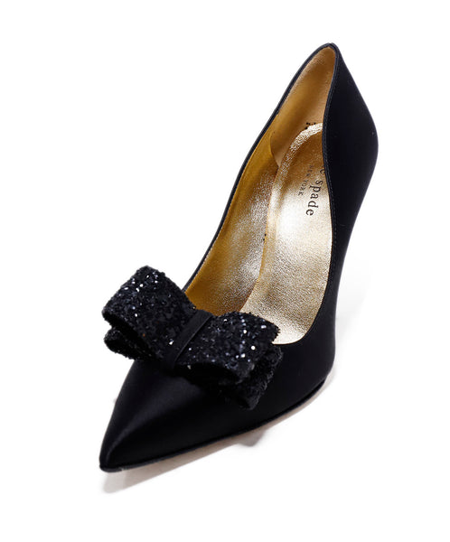 Kate Spade Black Satin Glitter Bow Trim Heels 1