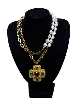 Kenneth J. Lane Gold Necklace with Faux Pearl and Multi Stone Necklace | Kenneth J. Lane