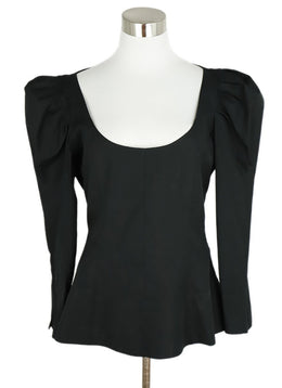 Khaite Black Puff Shoulder Cotton Top 1