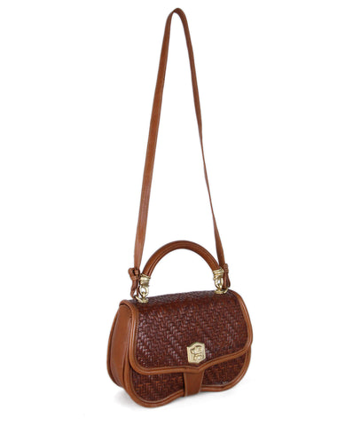 Kieselstein-Cord Brown Woven Leather Crossbody 1