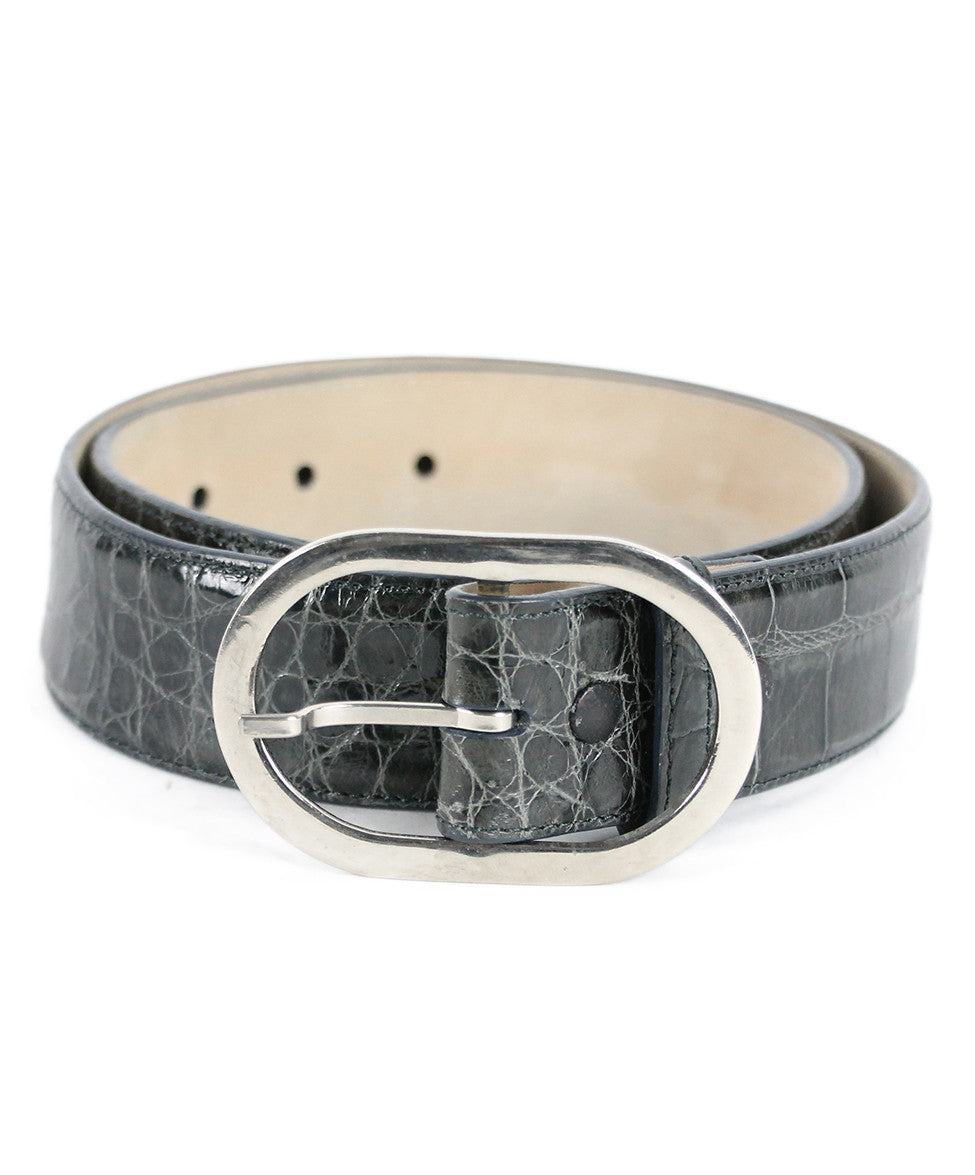 Kieselstein-Cord Charcoal Alligator Silver Trim Belt - Michael's Consignment NYC  - 1