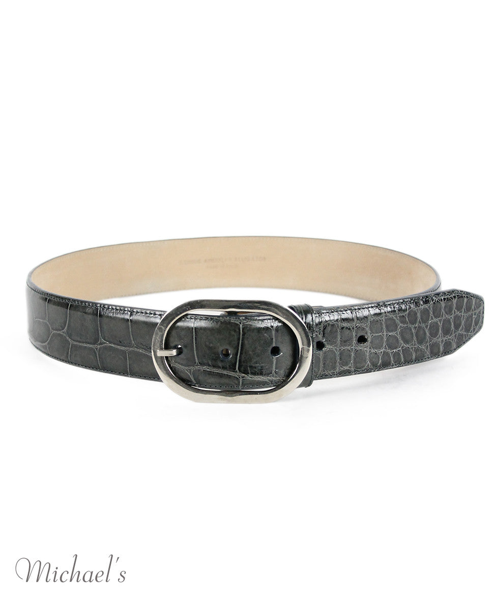 Kieselstein-Cord Charcoal Alligator Silver Trim Belt - Michael's Consignment NYC  - 2