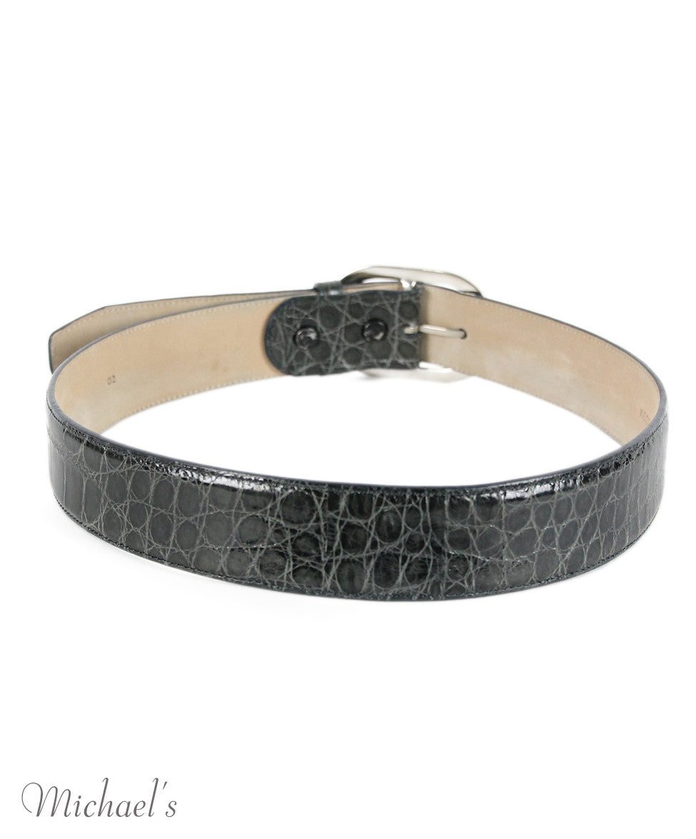 Kieselstein-Cord Charcoal Alligator Silver Trim Belt - Michael's Consignment NYC  - 3