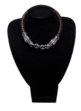 Kieselstein-Cord Brown Woven Leather Sterling Silver Jewelry Choker 1