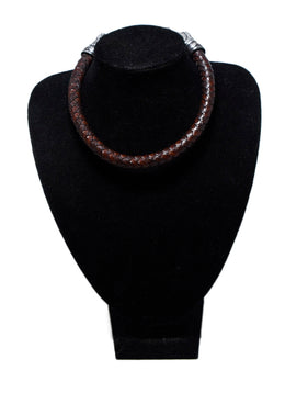Kieselstein-Cord Brown Woven Leather Sterling Silver Jewelry Choker 2
