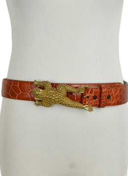 Kieselstein-Cord Brown Cognac Alligator Belt with Frog Buckle 1