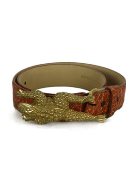 Kieselstein-Cord Brown Cognac Alligator Belt with Frog Buckle 2