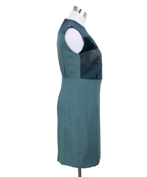 Kiton Green Silk Velvet Dress Sz 4