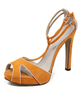 Heels Kiton Shoe Orange Grey Suede Platform Shoes