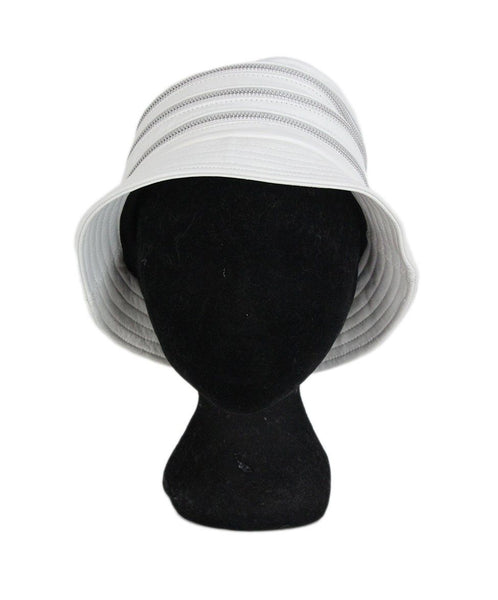 Kokin white leather zipper trim hat 1