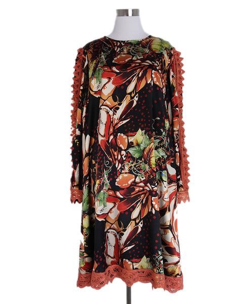 Koos Black Peach Green Floral Dress 1