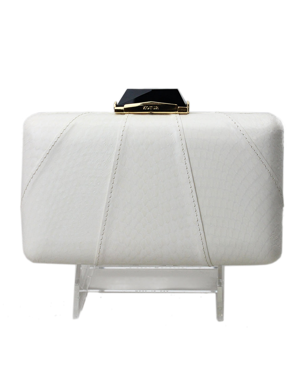 Kotur White Leather Clutch 3