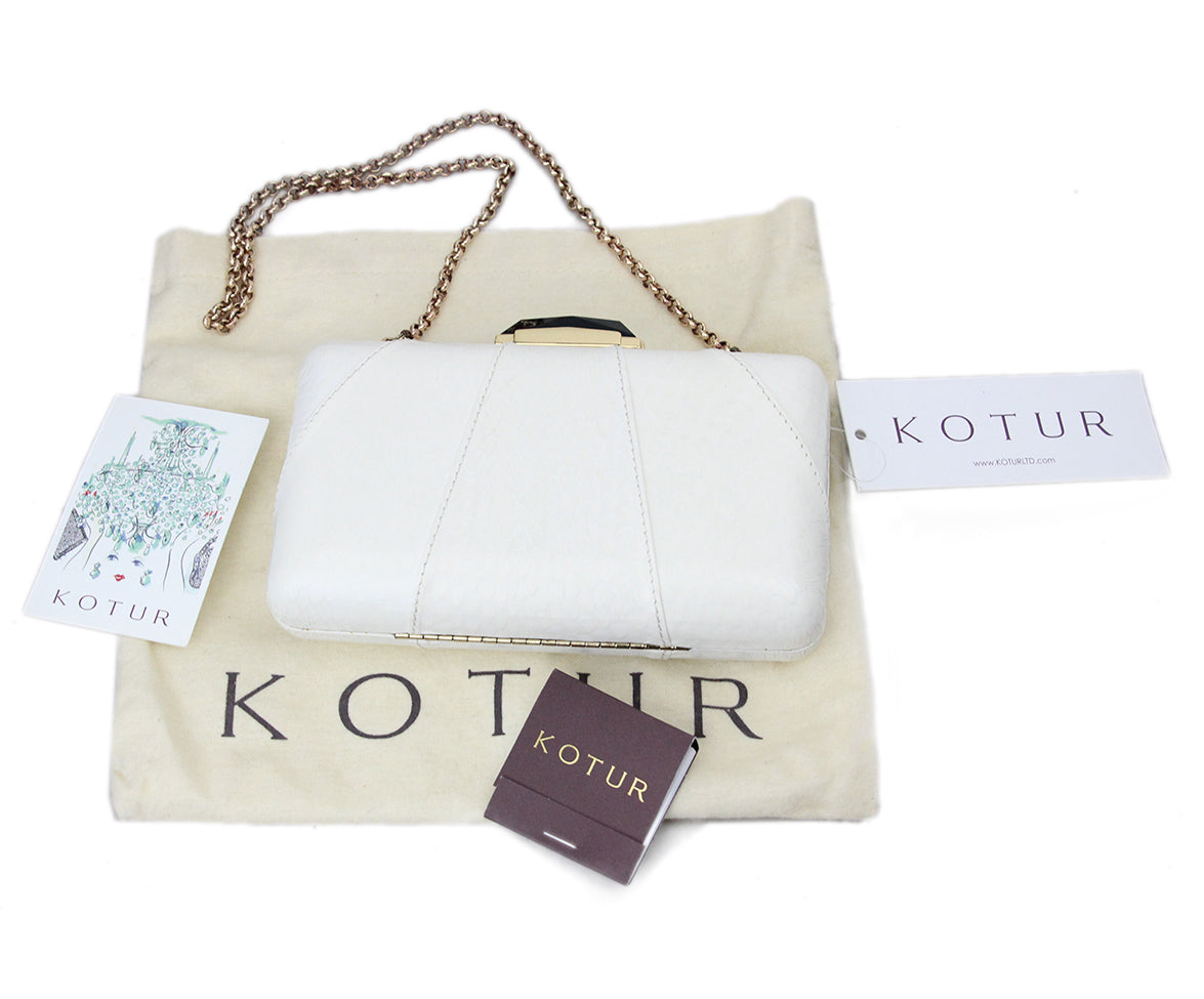 Kotur White Leather Clutch 7