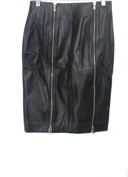 Long Kulson Black Leather Zipper Detail Skirt 2