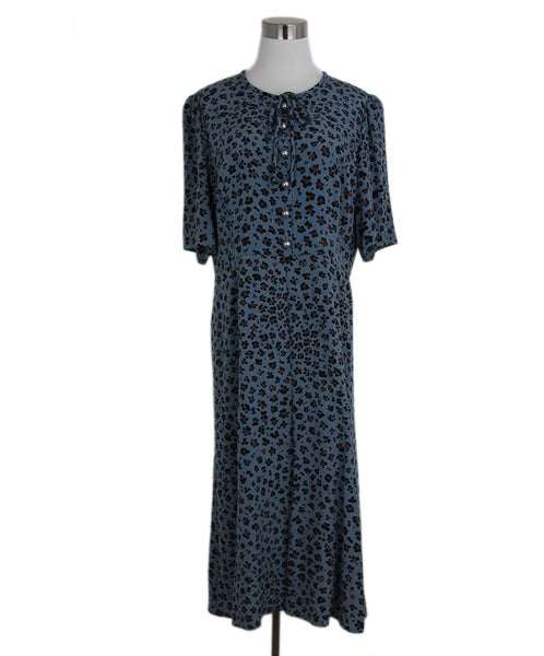 L.K Bennett Blue Black Brown Print Silk Dress 1