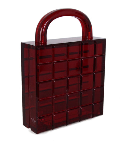L'Afshar Red Lucite Satchel 1