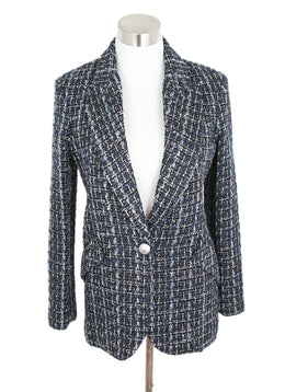 L'Agence Blue Black White Tweed Polyester Jacket 1
