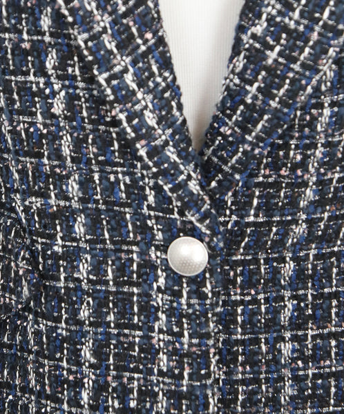 L'Agence Blue Black White Tweed Polyester Jacket 6