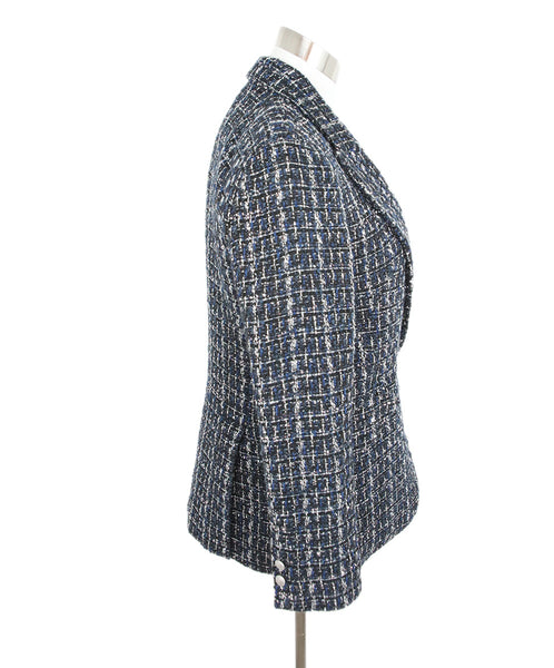 L'Agence Blue Black White Tweed Polyester Jacket 2