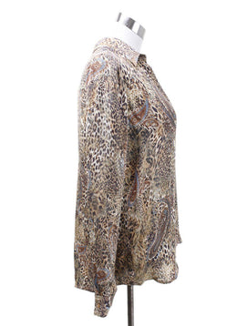 L'Agence Neutral Animal Print Paisley Blouse 1