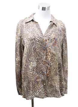 L'Agence Neutral Animal Print Paisley Blouse