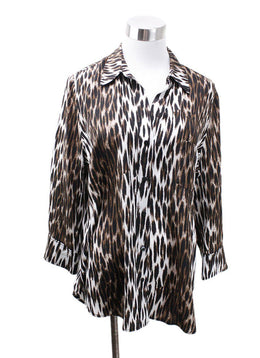 L'Agence Neutral Brown Animal Print Blouse