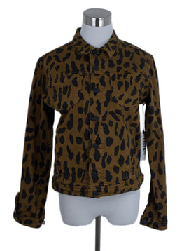 L'Agence Brown Black Animal Print Denim Jacket Outerwear 1