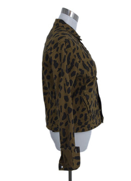 L'Agence Brown Black Animal Print Denim Jacket Outerwear 2