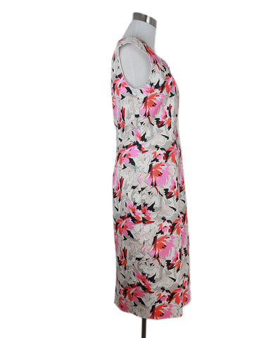 L.K Bennett white pink black floral dress 1