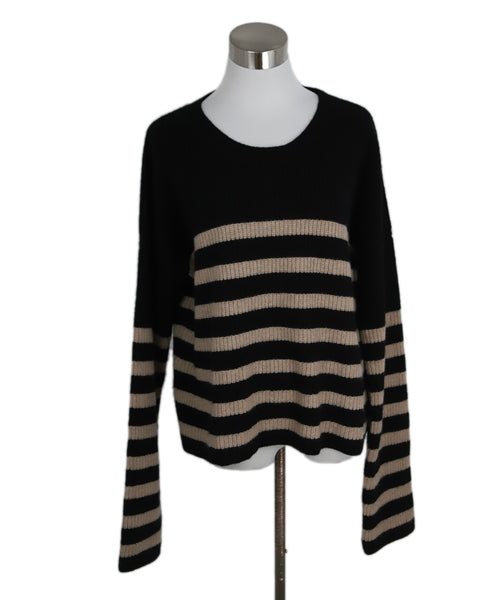 La Ligne Black with Beige Stripes Cashmere Sweater 1