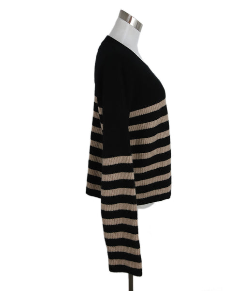 La Ligne Black with Beige Stripes Cashmere Sweater 2