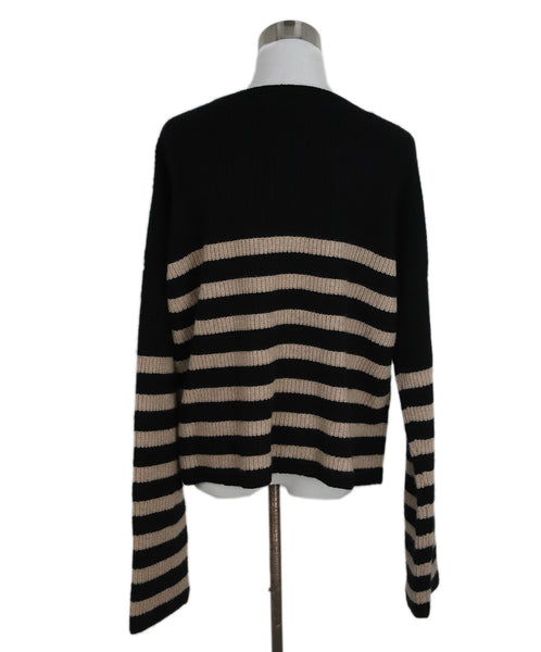 La Ligne Black with Beige Stripes Cashmere Sweater 3