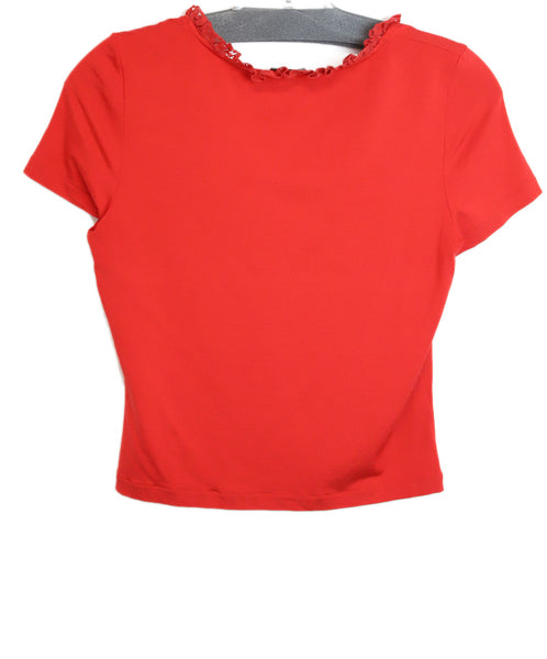 La Perla Red Cotton Lace Top 1