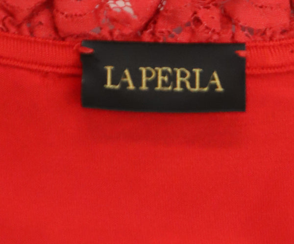 La Perla Red Cotton Lace Top 3