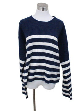 La Ligne Navy White Stripes Cashmere Sweater Sz 12
