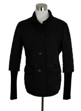 Lafayette 148 Quilted Nylon Black Knit Trim Jacket Outerwear 1