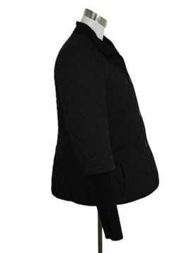 Lafayette 148 Quilted Nylon Black Knit Trim Jacket Outerwear 2