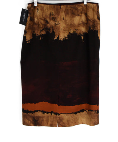 Lafayette 148 Brown Tan Print Wool Skirt 1