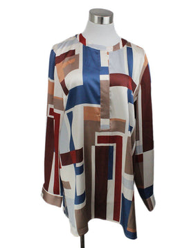 Lafayette Blue Burgundy Ivory Taupe Silk Top 1