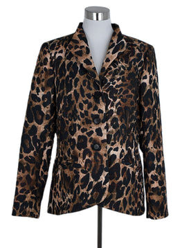 Lafayette 148 Brown Polyester Animal Print Jacket 1
