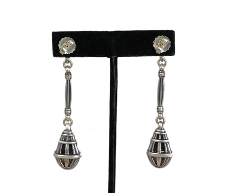 Lagos 18k gold sterling silver dangle earrings 1