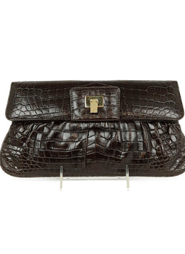 Lambertson Truex Brown Pressed Leather Clutch 1