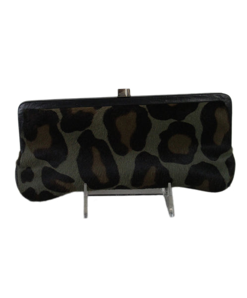 Lambertson Truex Green Olive Brown Leopard Print Fur Clutch 1
