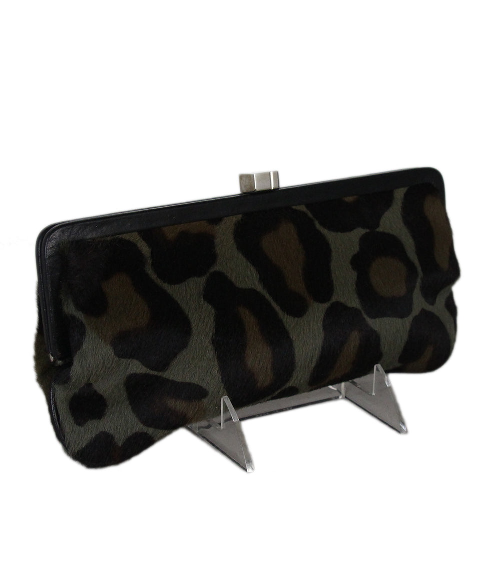 Lambertson Truex Green Olive Brown Leopard Print Fur Clutch 2