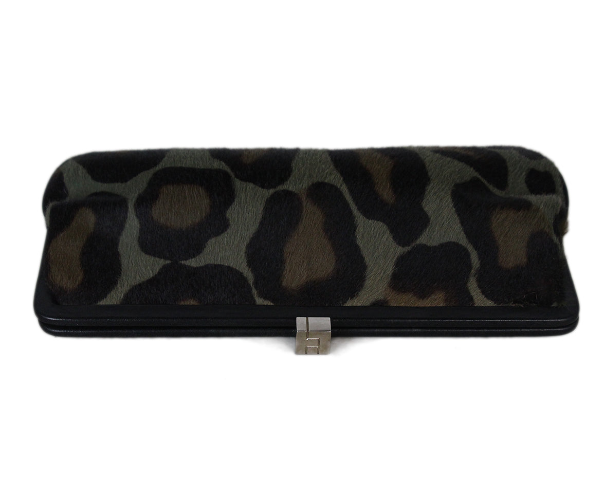 Lambertson Truex Green Olive Brown Leopard Print Fur Clutch 5