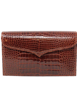 Lana Marks Brown Cognac Alligator Clutch