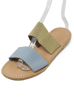 Lanapo Blue Suede Gold Leather Sandals 1