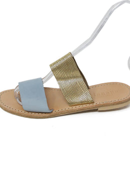 Lanapo Blue Suede Gold Leather Sandals 2