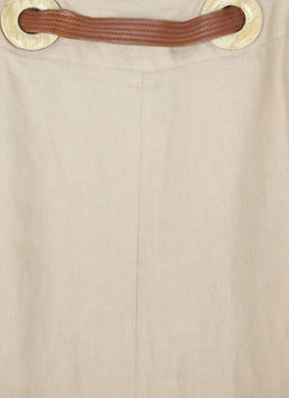 Valentino Neutral Linen Skirt with leather Belt Size 2