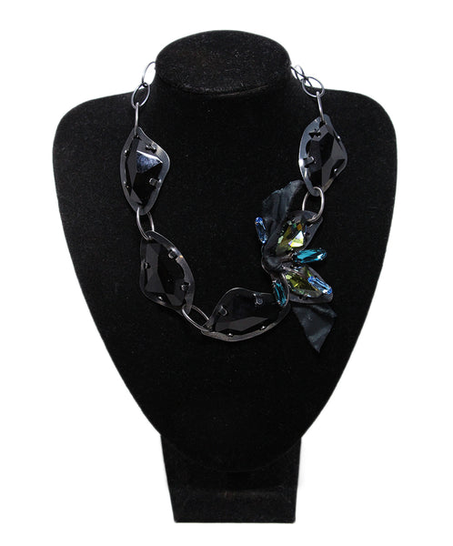 Lanvin Black Blue Green Rhinestone necklace 1